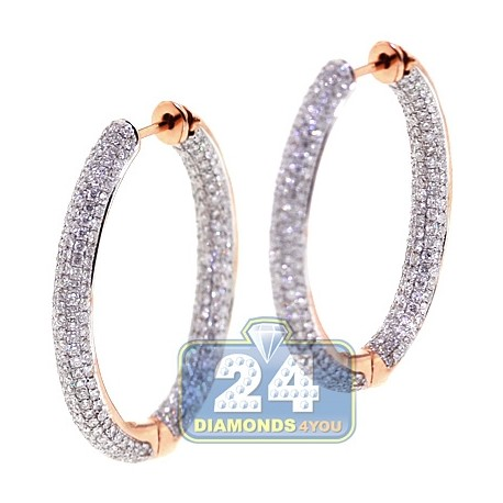 Womens Inside Diamond Oval Hoop Earrings 18K Rose Gold 1.25""