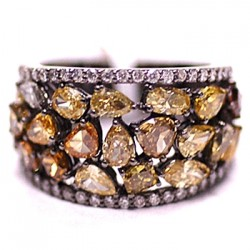 Black 14K Gold 3.91 ct Fancy Yellow Diamond Womens Ring