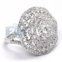 14K White Gold 3.11 ct Diamond Cluster Womens Round Ring