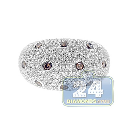 14K White Gold 1.66 ct Brown Diamond Womens Dome Ring