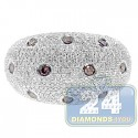 14K White Gold 1.66 ct Diamond Womens Dome Ring