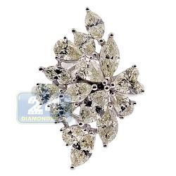 14K White Gold 4.45 ct Fancy Marquise Diamond Womens Flower Ring
