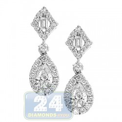 18K White Gold 1.12 ct Diamond Womens Small Drop Earrings