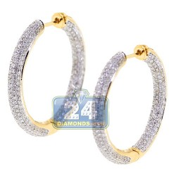 18K Yellow Gold 3.44 ct Full Diamond Round Hoop Earrings 1.2 Inch
