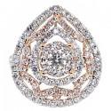 14K Two Tone Gold 2.66 ct Diamond Vintage Pear Shape Ring