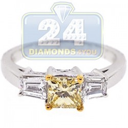 GIA Certified 18K White Gold 1.25 ct Fancy Yellow Diamond Womens Engagement Ring