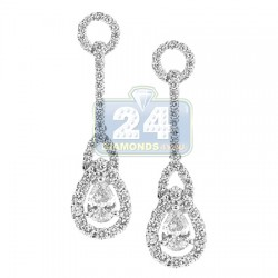 18K White Gold 1.80 ct Pear Diamond Womens Halo Drop Earrings
