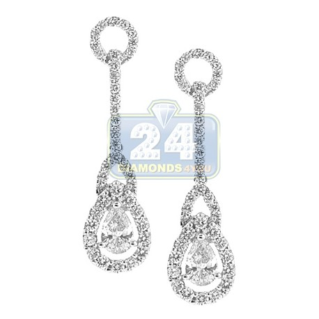 Womens Pear Diamond Halo Drop Earrings 18K White Gold 1.80 ct