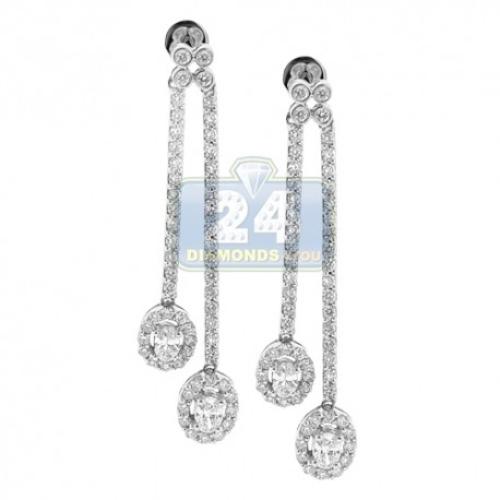 Womens Oval Diamond Double Drop Earrings 14K White Gold 1.60 ct