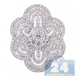 18K White Gold 1.92 ct Diamond Womens Flower Ring