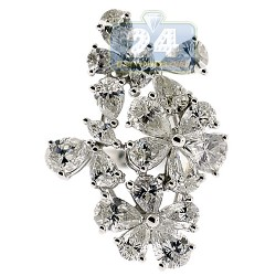 14K White Gold 4.33 ct Fancy Marquise Diamond Flower Ring