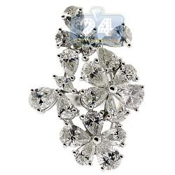 14K White Gold 4.33 ct Fancy Marquise Diamond Flower Ring
