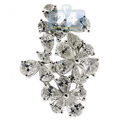 14K White Gold 4.33 ct Fancy Marquise Cut Diamond Flower Vintage Ring