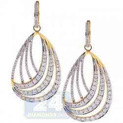 14K Yellow Gold 4.00 ct Diamond Womens Dangle Earrings