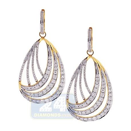 Womens Diamond Oval Dangle Earrings 14K Yellow Gold 4.00 Carat
