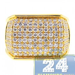 14K Yellow Gold 2.80 ct Diamond Mens Rectangle Signet Ring