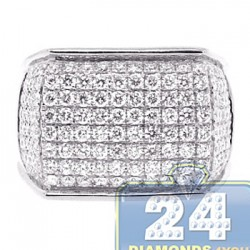14K White Gold 2.81 ct Diamond Mens Rectangle Signet Ring