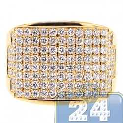 14K Yellow Gold 2.64 ct Round Diamond Mens Wide Ring
