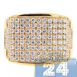 14K Yellow Gold 2.64 ct Round Diamond Mens Wide Ring