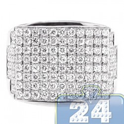 14K White Gold 2.65 ct Round Diamond Mens Wide Ring