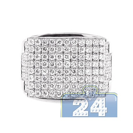 Mens Round Diamond Wide Signet Ring 14K White Gold 2.65ct