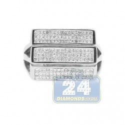 14K White Gold 0.55 ct Diamond Mens Signet Ring