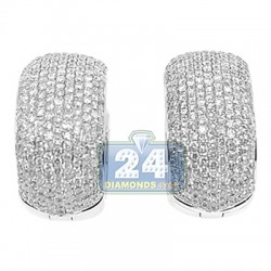 14K White Gold 3.69 ct Diamond Pave Womens Huggie Earrings
