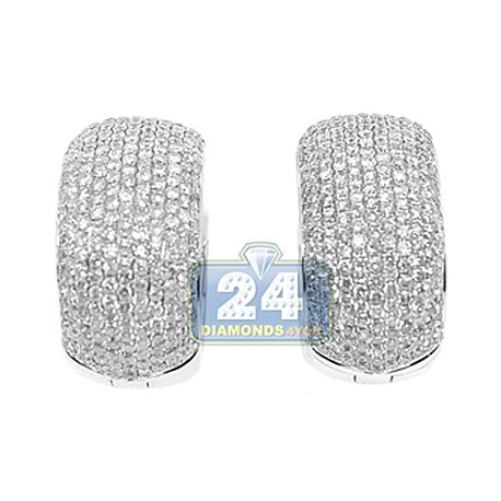 Womens Diamond Pave Huggie Earrings 14K White Gold 3.69 Carats