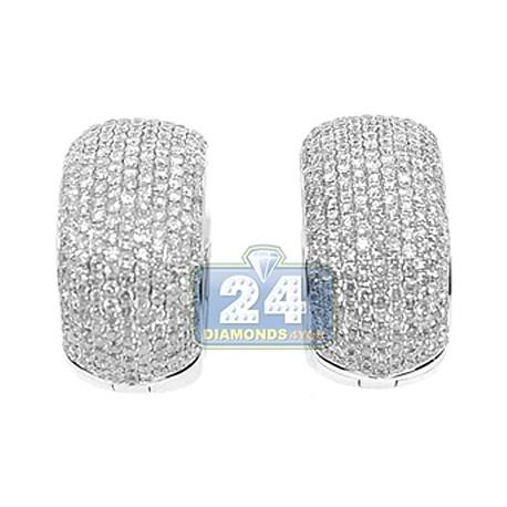 8759d0318 Womens Diamond Pave Huggie Earrings 14K White Gold 3.69 Carats