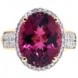 18K Yellow Gold 8.32 ct Pink Tourmaline Diamond Womens Ring