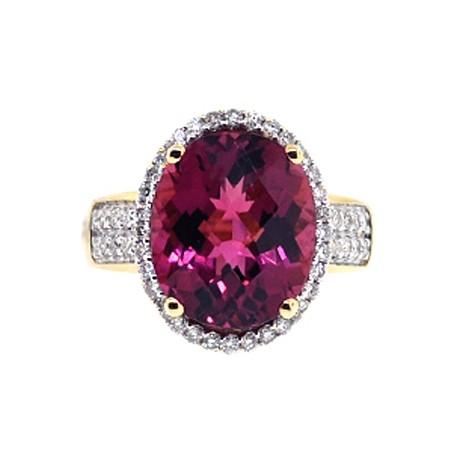 Womens Pink Tourmaline Diamond Cocktail Ring 18K Yellow Gold 8.32 Carats