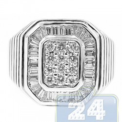18K White Gold 1.35 ct Diamond Womens Signet Ring