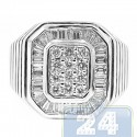 18K White Gold 1.35 ct Baguette Round Cut Diamond Womens Ring