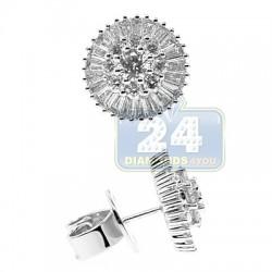 18K White Gold 2.00 ct Diamond Womens Stud Earrings