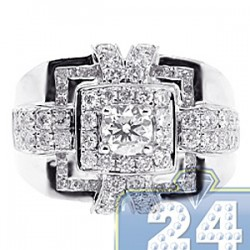 14K White Gold 2.47 ct Diamond Mens Square Signet Ring