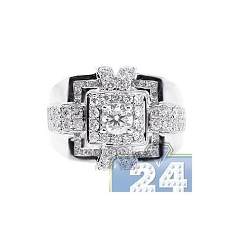 14K White Gold 2.47 ct Diamond Mens Square Signet Ring