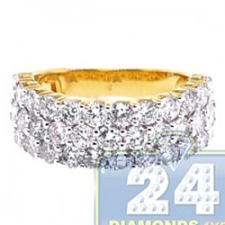 14K Yellow Gold 3.42 ct Diamond 3 Rows Womens Ring