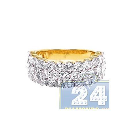 14K Yellow Gold 3.42 ct Diamond 3 Rows Womens Ring