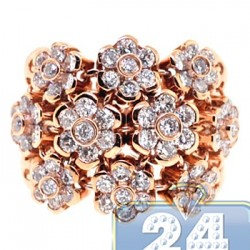 18K Rose Gold 2.35 ct Diamond Cluster Flower Design Womens Ring