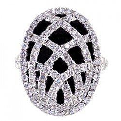 14K White Gold 3.31 ct Black Diamond Womens Oval Cage Ring