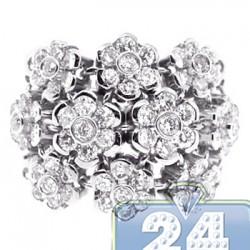 18K White Gold 2.40 ct Diamond Cluster Womens Flower Ring