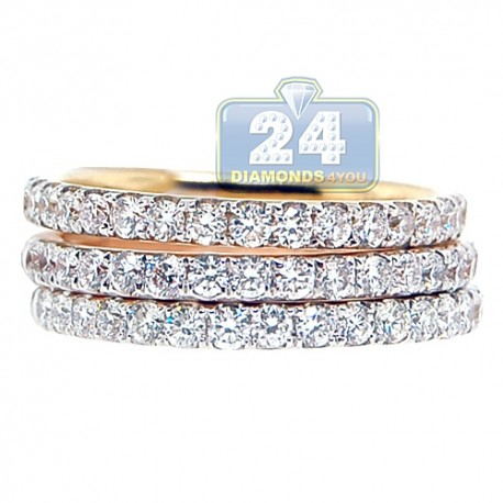 18K Three Tone Gold 1.80 ct Diamond Womens 3 Ring Set