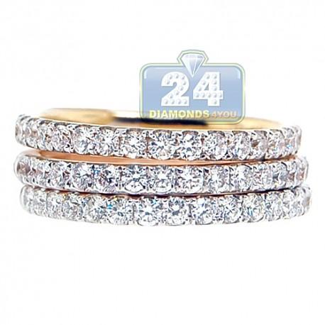 18K 3 Tone Gold 1.80 ct Diamond Stackable Wedding Rings Set