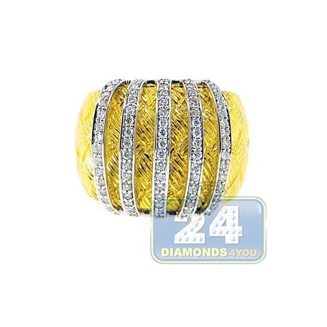 14K Yellow Gold 0.55 ct Diamond Womens Vintage Puff Ring