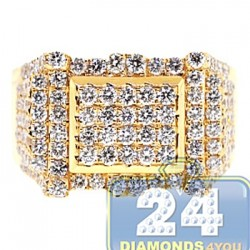 14K Yellow Gold 2.59 ct Diamond Mens Rectangle Ring