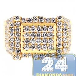 14K Yellow Gold 2.59 ct Diamond Mens Rectangle Ring