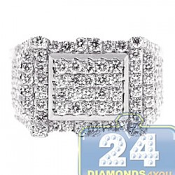 14K White Gold 2.59 ct Diamond Mens Rectangle Ring