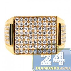 14K Yellow Gold 2.41 ct Diamond Rectangle Shape Mens Ring
