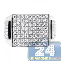 14K White Gold 2.41 ct Diamond Mens Rectangular Shaped Ring