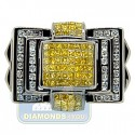 Black PVD 14K Gold 1.97 ct Yellow White Diamond Mens Ring